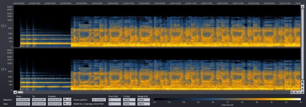 spettrogramma del canto del daimoku, il mantra buddista