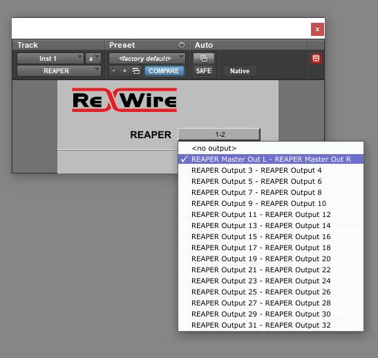 selezionare ouput reaper